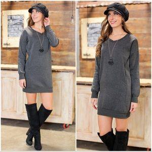 Charcoal V Neck Sweatshirt Dress